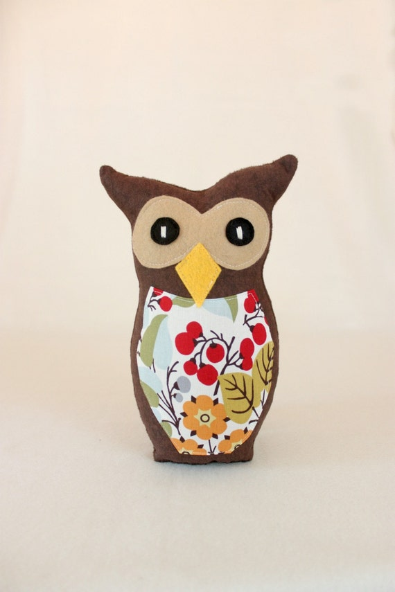 Clementine the Owl Soft Plush Toy - Berry/Tree Print in Orange/Red/Green