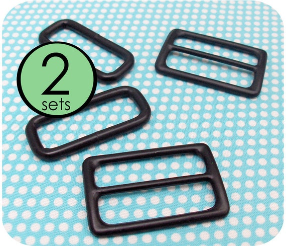 2 Sets - Slides and Rectangle Rings Black Plated 1.5 Inch Wide