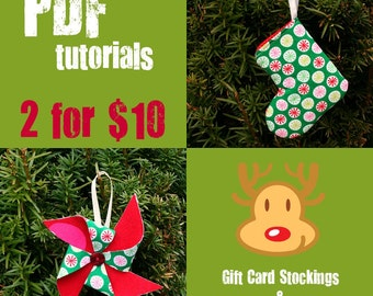 COMBO PACK Mini Stocking and Pinwheel Tutorial - Instant Download