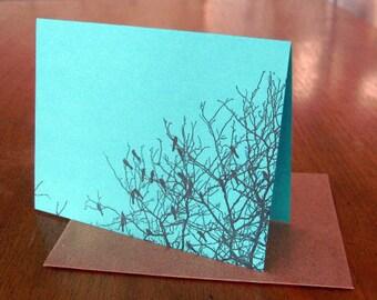 5-pack Bright Blackbirds letterpress notecards
