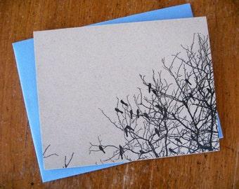 5-pack Blackbird Swarm in Bare November Tree letterpress cards