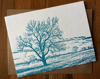 Cottonwood tree letterpress notecard