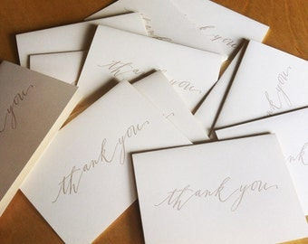 15-pack mega-deal Calligraphy taupe Thank You letterpress cards