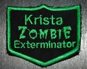 Custom Name Zombie Exterminator Patch cosplay punk Horror