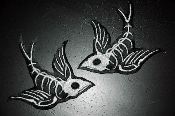 Swallow Skeleton vinyl patches   set of 2 free shipping