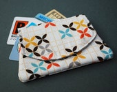 Mini Velcro Fold Over Card and Cash Wallet--Grid Blossoms