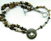 Tigereye and Mother of Pearl Choker