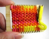 Weaving Loom Ornament, Miniature, Ballpark Colorway, Red and Yellow