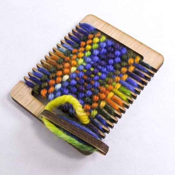 Tiny Weaving Loom Ornament, Miniature Textile Tool, Blue Orange Handdyed, Lorikeet