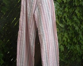 100 percent Cotton Seersucker Pink Multicolored Stripe Wide Leg Lounge Pants S or M