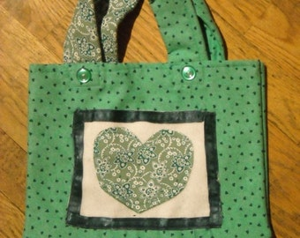 One of A Kind Green Hearts Small Purse or Shopping Bag