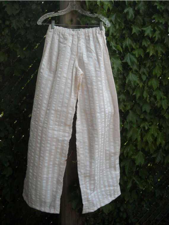 100 percent cotton Seersucker Pink White Stripe Wide Leg Lounge Pants S or M
