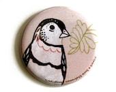 Pink Bird Pocket Mirror - Handmade Pink Bird Travel Mirror - Pink Travel Accessories - Pink Pocket Mirror Baby Girl Shower Favor girl baby