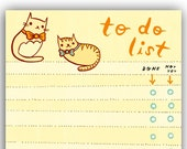 Cat TO DO LIST notepad by boygirlparty, bowtie kitty cat note pad memo list organizer - cat stationery office gift