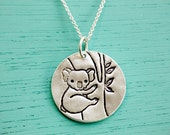 Koala Necklace Koala Jewelry - Ecofriendly Silver Koala Artwork Pendant Koala Charm boygirlparty Chocolate and Steel