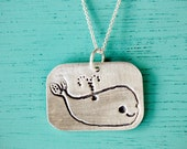 SILVER WHALE NECKLACE - animal jewelry by boygirlparty - kawaii cute happy whale pendant - ecofriendly silver whale jewelry