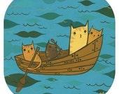 RAFTING CAT art print, small art print by Susie Ghahremani, rowboat funny cat art, funny cat gift, kawaii art lake art, square art print,