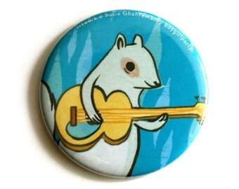 gift for her, guitar squirrel POCKET MIRROR, rock music gift, squirrel gift girl, small mirror, travel mirror, round mirror, stocking filler