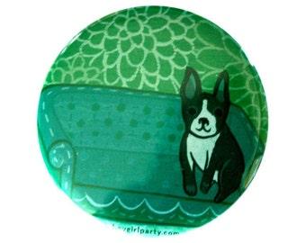 BOSTON TERRIER pocket mirror by boygirlparty, boston terrier illustration, boston terrier art, boston terrier gifts mirror