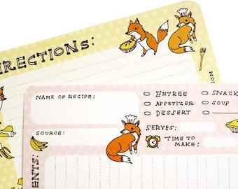 Fox Recipe Cards by boygirlparty - illustrated animal 4x6 recipe cards set