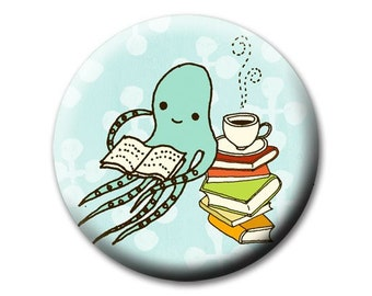 Reading OCTOPUS pocket mirror by boygirlparty, squid reading books and drinking tea - cute octopus mirror