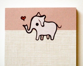 Pink ELEPHANT NOTEPAD by boygirlparty - retro kawaii animal note pad memo paper stationery