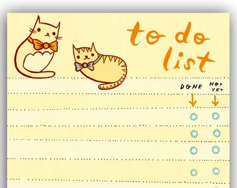 Bloc-notes de chat pour faire la liste de boygirlparty, noeud papillon kitty cat note pad memo liste organisateur - cadeau de bureau papeterie chat