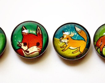 Refrigerator Magnets - FOX MAGNETS - housewarming gift, glass magnets fridge magnets, rustic home decor rustic, gift mom, gift for mom
