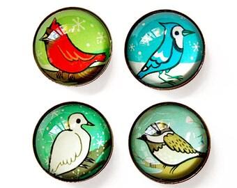 BIRD MAGNETS / bird gifts, glass magnets, bird artwork, boygirlparty, magnets fridge, put a bird on it, unique bird art, unique gift idea