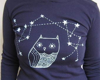 constellation OWL HOODIE by boygirlparty, owl star constellation hoodie, women's clothing, american apparel, ladies hoodie, navy blue