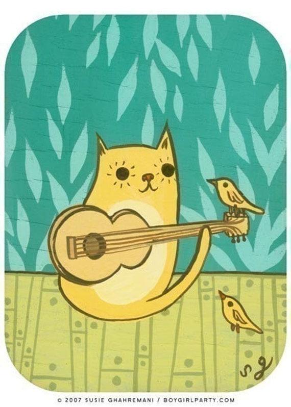 CAT BIRD art print by Susie Ghahremani, signed edition 5x7, kitten giclee