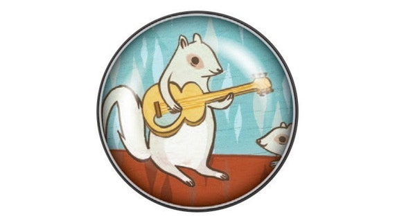 Squirrel Guitar Magnet by boygirlparty - white squirrel rock music, glass magnet fridge magnet, turquoise red