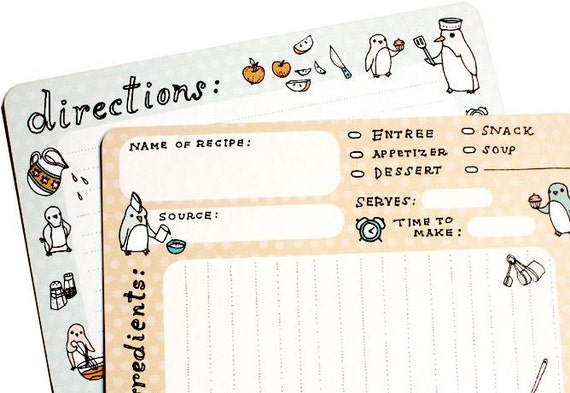 Recipe Cards 4x6 - Kawaii Penguins Recipe Card Set - Boygirlparty set of 10 recipe cards kawaii cooking card recipe organization