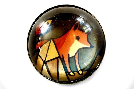 RED FOX glass magnet by boygirlparty - fox magnet, kitchen magnet, refrigerator fridge magnet - woodland animal