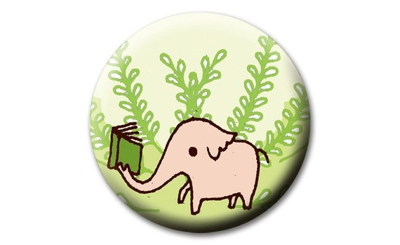 Bookish ELEPHANT pocket mirror - boygirlparty - reading elephant with book - Book Gift Ideas - bookish gifts, book club gift