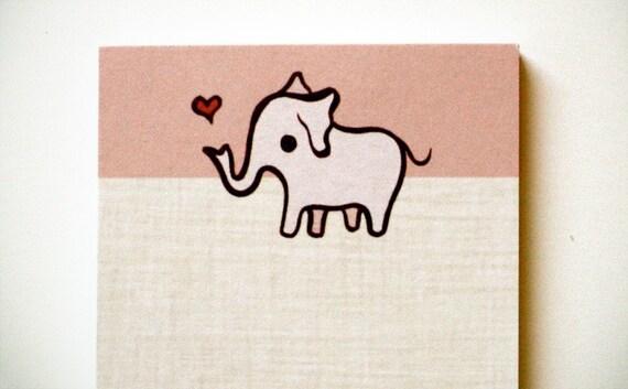 Pink ELEPHANT NOTEPAD by boygirlparty - retro kawaii animal note pad memo paper stationery