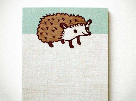 HEDGEHOG NOTE PAD by boygirlparty, cute woodland animal hedgehog notepad memo pad blue - kawaii stationery