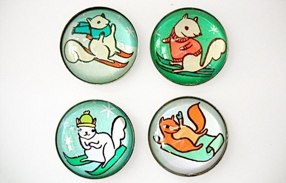 ski SQUIRRELS magnet set - anthropomorphic downhill skiing squirrel magnets - squirrel art snow ski gifts squirrel gift
