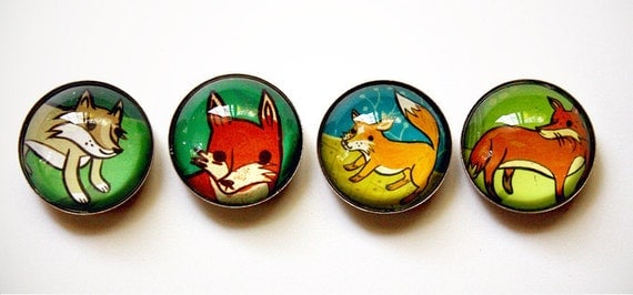 FOX magnet glass magnets, fox animal wolf fridge magnets - boygirlparty retro red fox