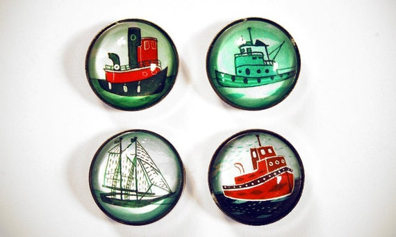Nautical Magnets, Boat Magnets - nautical gifts Sail boat magnets tugboat refrigerator magnet set / boat gift