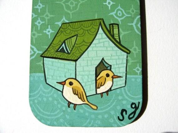 CANARY HOUSE original miniature painting, mini art by Susie Ghahremani