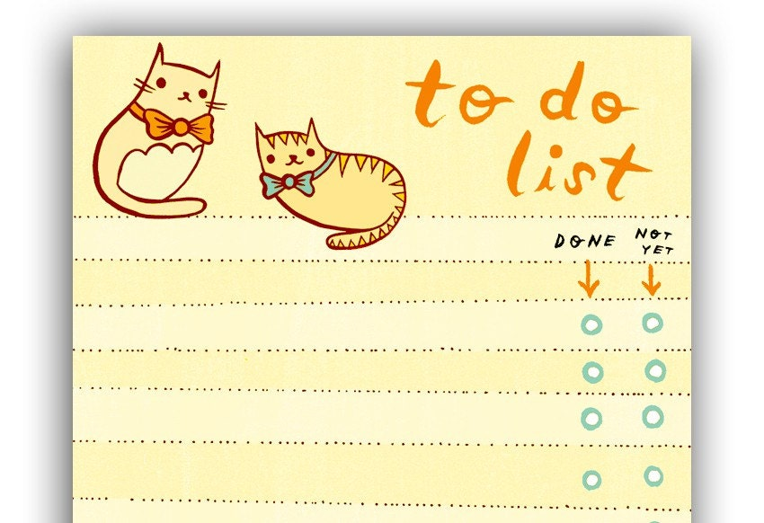 Cat TO DO LIST notepad by boygirlparty bowtie kitty cat note – Office to Do List Template
