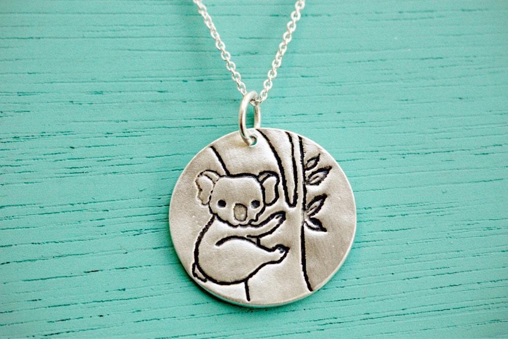 koala necklace koala jewelry ecofriendly silver koala