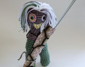 SALE Lady Fab Monsters - OOAK Crocheted Project Knitting Needle and Crochet Hook Holder - knotbygranma