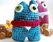 Mini Monster Amigurumi OOAK Kids Halloween Stuffed Toy - knotbygranma