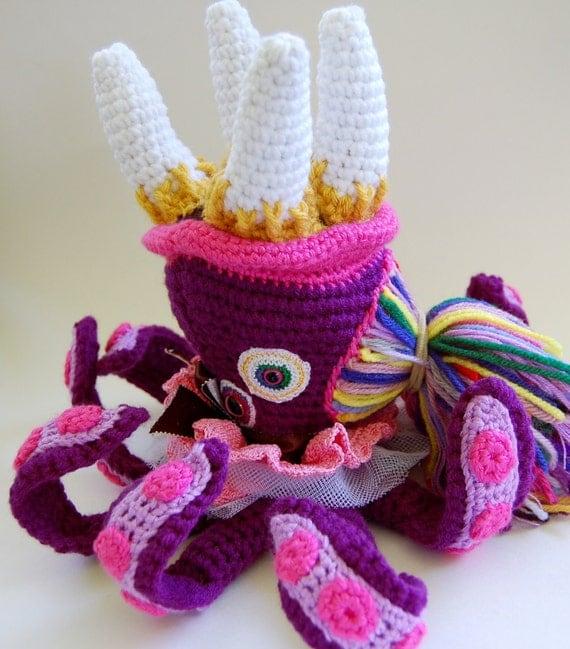 SALE - Tentacle Ballet Monster - OOAK Crocheted Soft Sculpture Art Doll