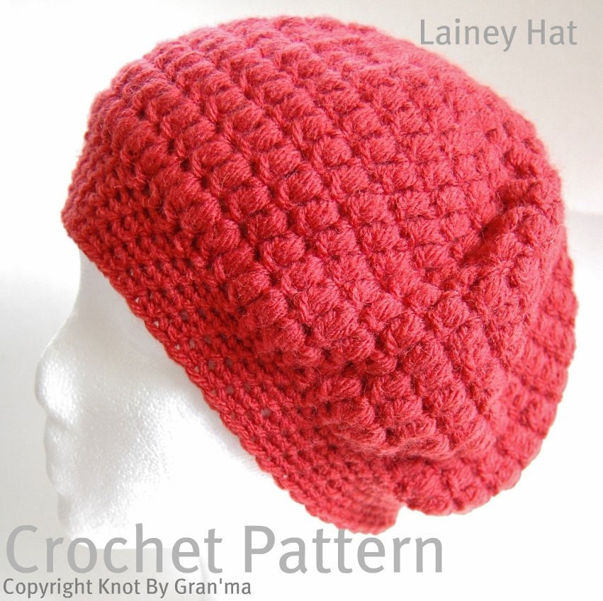 Free Crochet Patterns Slouchy Beret : Lainey Slouch Beret Hat Crochet Pattern