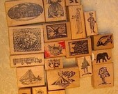 NEW PRICE Lot of Wood Mounted Rubber Art Stamps A15