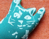 Flip Cat Doll Screenprinted Turquoise Teal  and Polka Dot Green