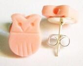 Little Pink Owls - Stud Earrings